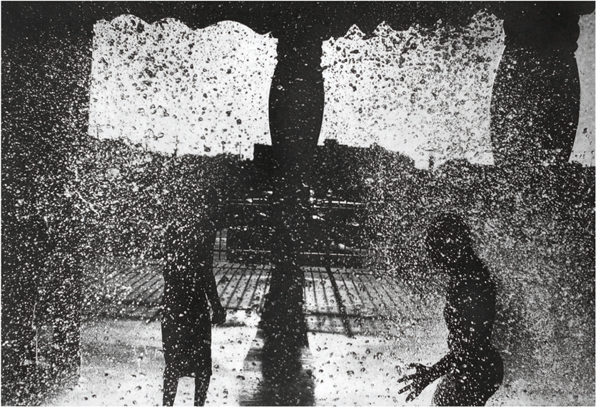 Michael Ast website, photopolymer, etching, intaglio, Asbury Park, Asbury, NJ, New Jersey, water park, leisure, children, shadow figure, shadows, silhouette, printmaking, Charbonnel, Hahnemuhle, noir, Michael Ast, boys playing, children playing, Summer, August