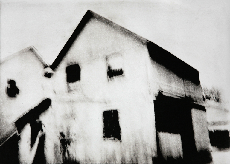 Michael Ast, photopolymer, etching, printmaking, intaglio, Charbonnel, Hahnemuhle, Bucks County, dusk, noir, Quakertown, barn, windows, ominous, rooftop