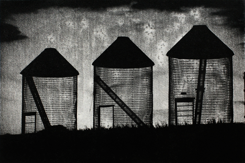Michael Ast, photopolymer, etching, printmaking, intaglio, Charbonnel, Hahnemuhle, Spinnerstown, Bucks County, rural, silos, agriculture, dusk, twilight, noir