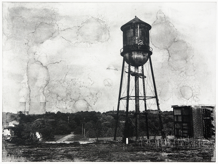 Michael Ast, michaelast, photopolymer, photo-etching, photopolymer etching, etching, intaglio, printmaking, monotype, Hahnemuhle Copperplate, Chabronnel, print, urbex, abandoned, haunting, USSR, hammer sickle, sickle, gaffiti, rooftop, plume, clouds, stain, nuclear, cooling tower, water tower, decay, pennsylvania, Limerick, montco, montgomery county, PA steam, exhaust, clean air, nuclear energy