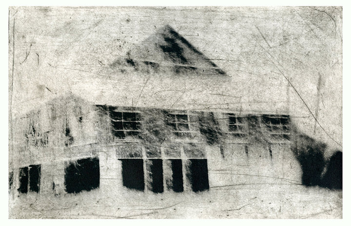 Michael Ast, photopolymer, etching, printmaking, intaglio, Charbonnel, Hahnemuhle, rural, barn, Bucks County, Spinnerstown, PA, Pennsylvania, driveby, Winter, michaelast, Hahnemuhle copperplate, spitbit