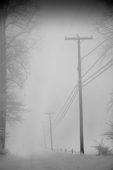 Michael Ast, Spinnerstown, Bucks County, winter, fog, telephone poles, telephone wires, snow