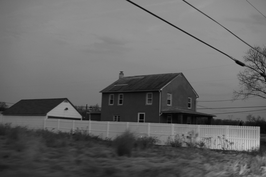 Michael Ast, Spinnerstown, Bucks County, drive-by, homestead, rural, fence, blur, motion, chimney, telephone lines