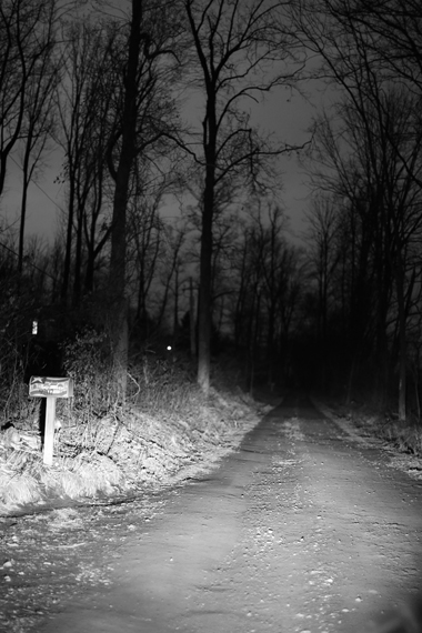 Michael Ast, Spinnerstown, Bucks County, rural, dirt road, headlights, backroad, gravel road, mailbox, driving home, rural