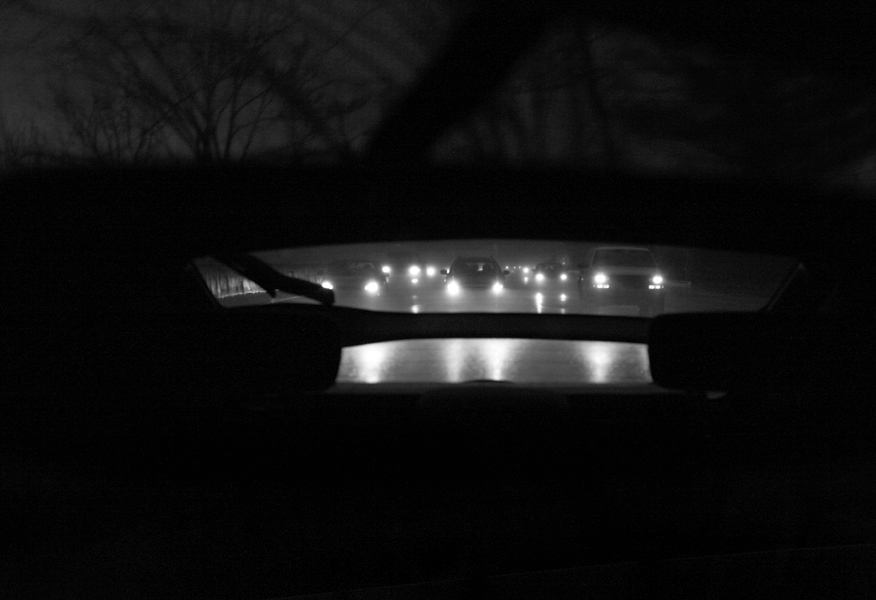 Michael Ast, PA Turnpike, Pennsylvania Turnpike, Turnpike, headlights, rearview, rearview mirror, traffic, Godspeed You! Black Emperor, Chevron flight, Chevron, drone guitar, ominous