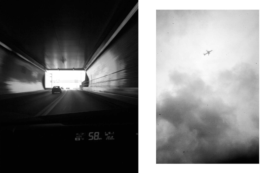 Michael Ast. Trying to Find the Ocean, photobook, Mark Alice Durant, Baltimore, MD, tunnel, airplane, takeoff, clouds, urban, city, skyward, ominous, michaelast, self-published