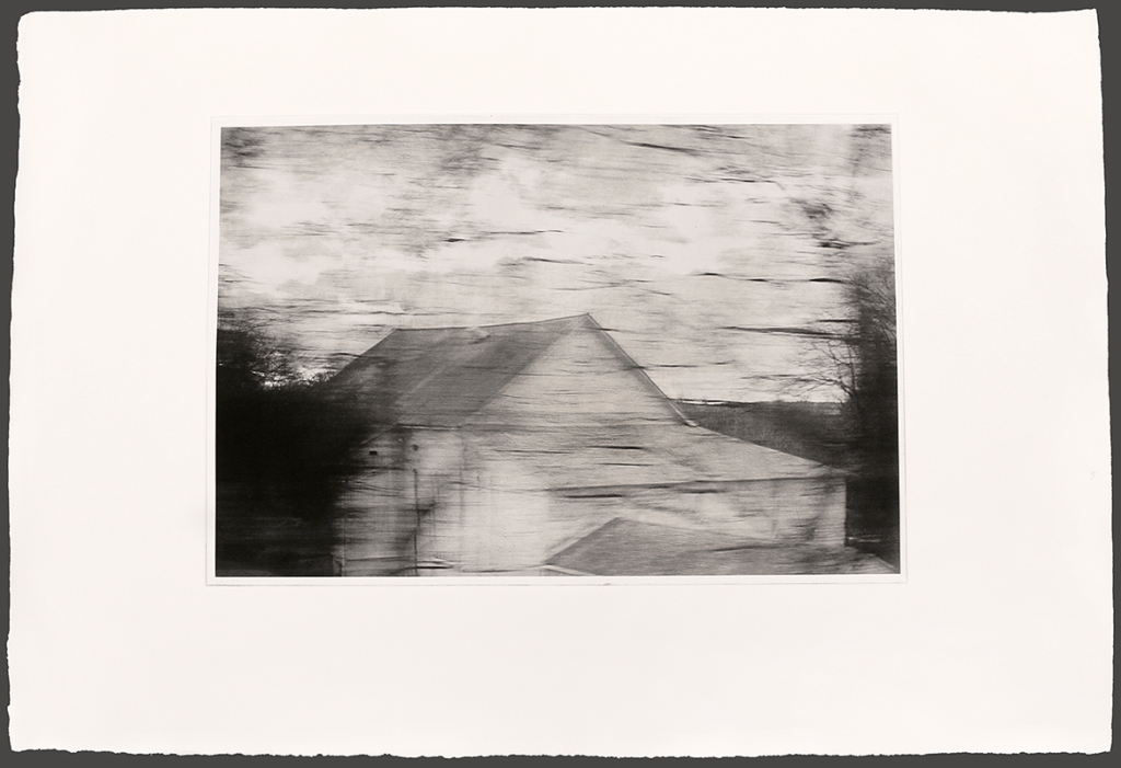 Michael Ast, printmaking, etching, photopolymer, photopolymer etching, intaglio, Bucks County, michaelast, rural, rooftop, blur, blurred, speed, dawn, Spinnerstown, Bucks County