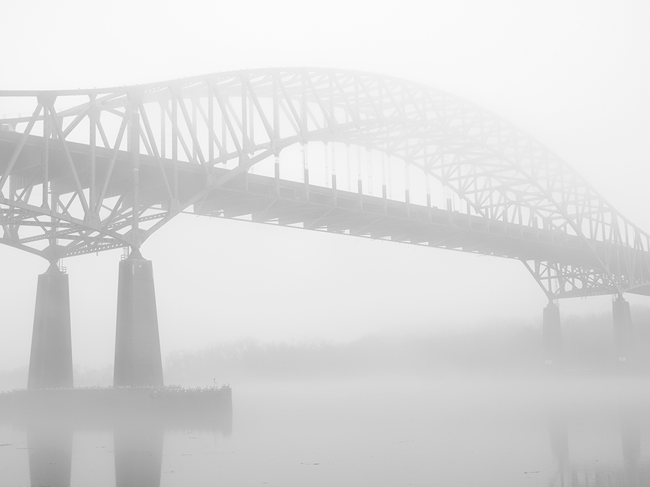 Delaware River, Michael Ast, Bucks County, PA, Pennsylvania, fog, river, river bank, Delaware Memorial Bridge, turnpike, New Jersey, bridge, I-276