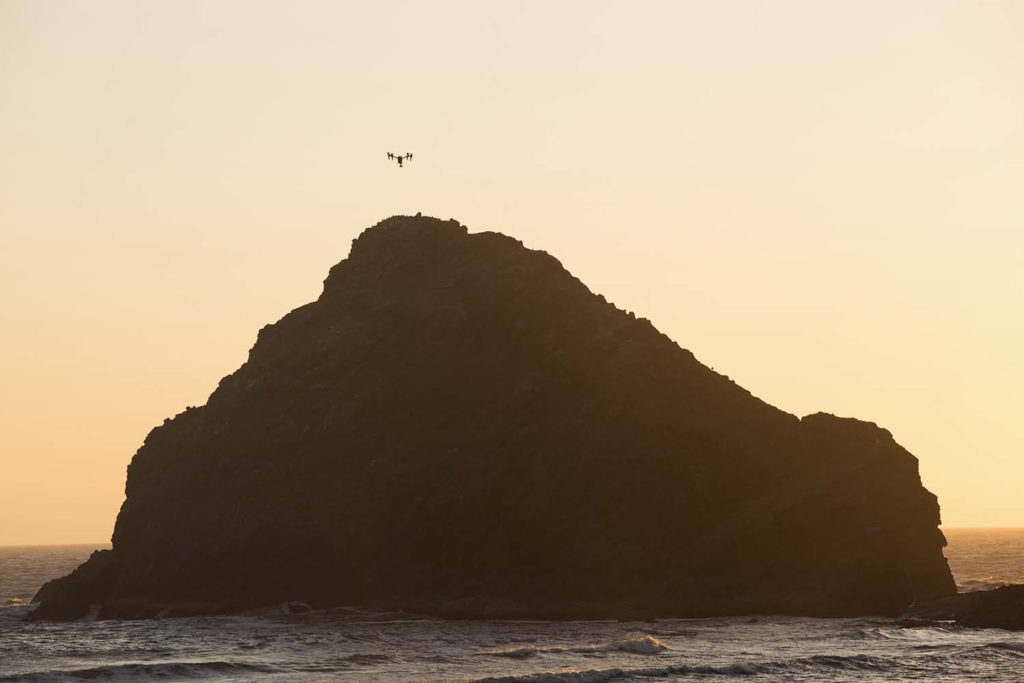 Heceta Beach, drone, sunset, dusk, outcrop, Pacific ocean, coast, Pacific Highway, Pacific 101, dusk, Route 101, Michael Ast, Oregon