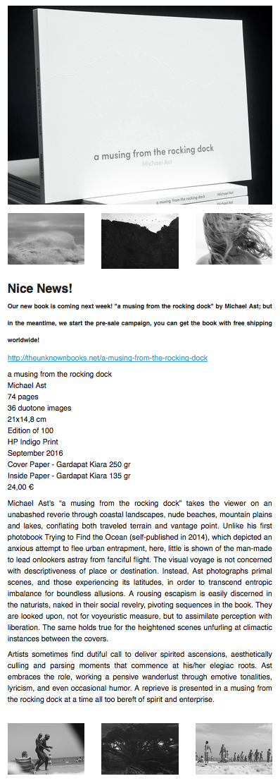 Michael Ast, the unknown books, a musing from the rocking dock, photobook, published