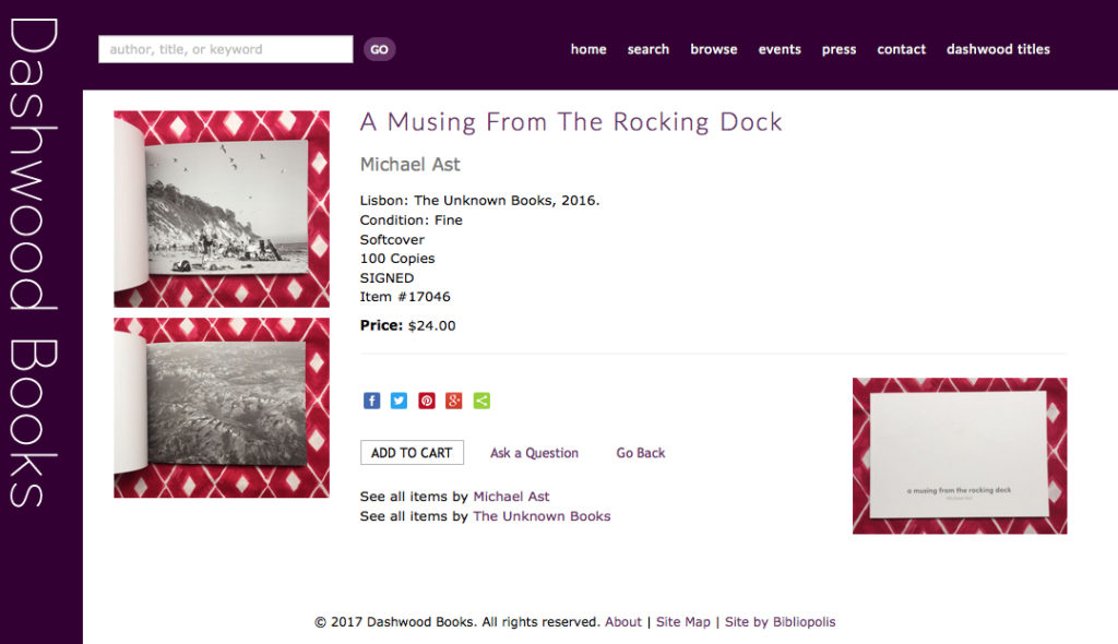 a musing from the rocking dock, Michael Ast, photobook, Dashwood Books