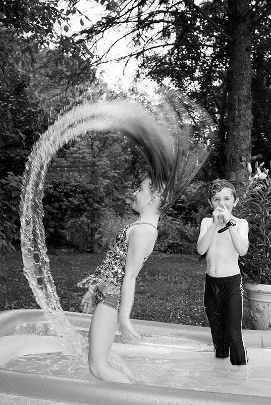 Father's Day, fatherhood, children, pool play, Summer, hair toss