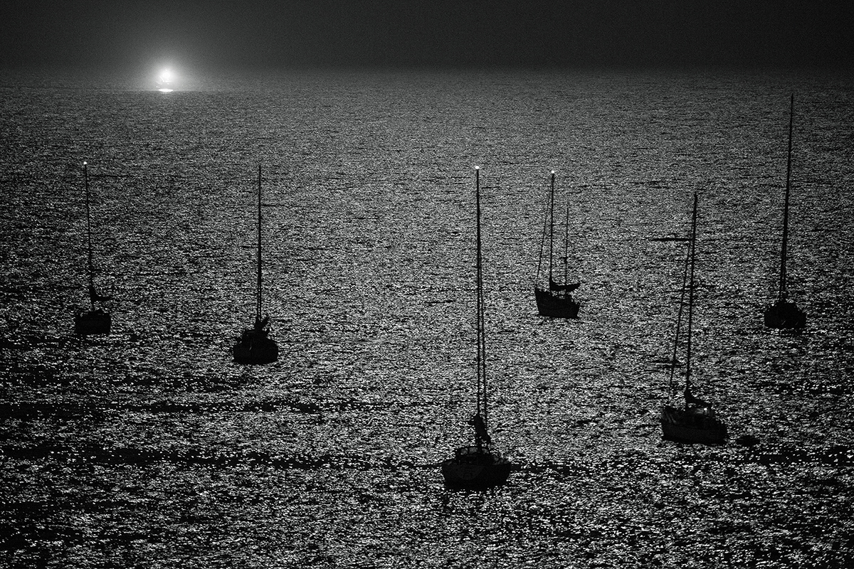 Santa Cruz, Michael Ast, Cowell's Cove, full moon, moonlight, silver lining, Pacific, bay, ocean, ripples, sailboats, sailing, night photography, aerial, central California, Pacific Coast, Summer, sailing, anchored, CA, black & white
