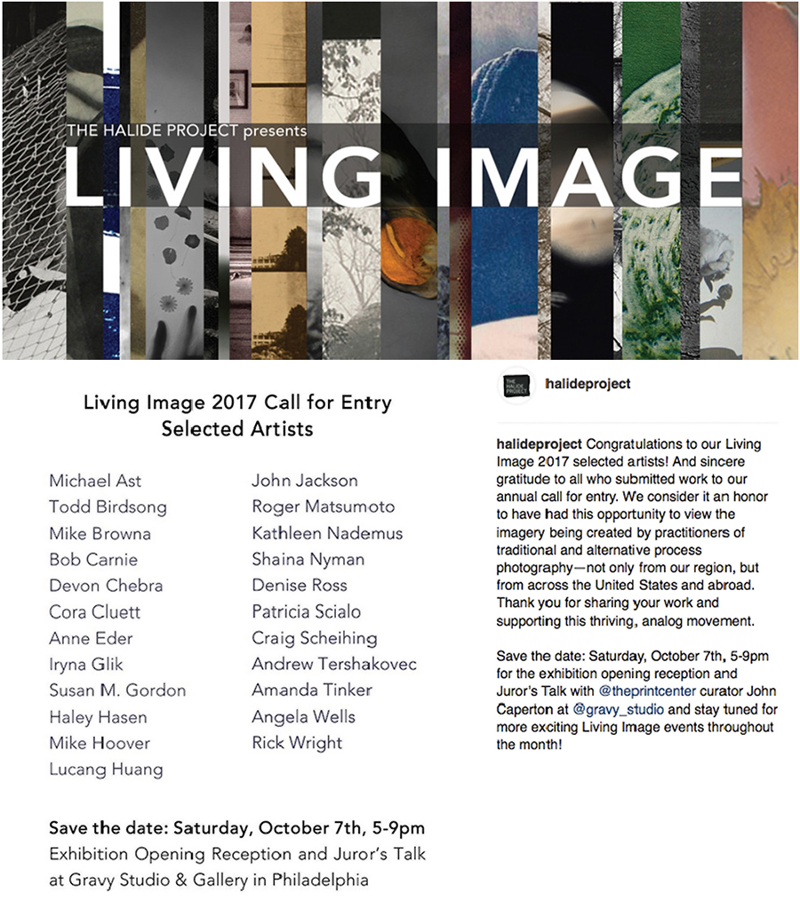 Living Image, Halide Project, Gravy Studio, Gravy Gallery, Philadelphia, philaarts, analog photography, analog, printmaking, photo etching, photopolymer, photogravure, Michael Ast, photo exhibition, call for entry, The Print Center, John Caperton