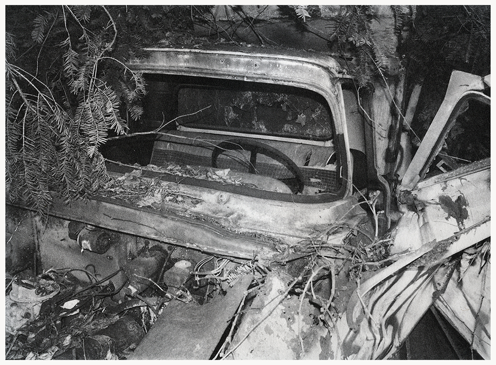 Michael Ast, photo etching, photopolymer etching, etching, intaglio, printmaking, printmaker, photographer, Kinsey, analog photography, bw photography, industrial, ivy, pickup truck, shattered, steeringwheel, overgrowth