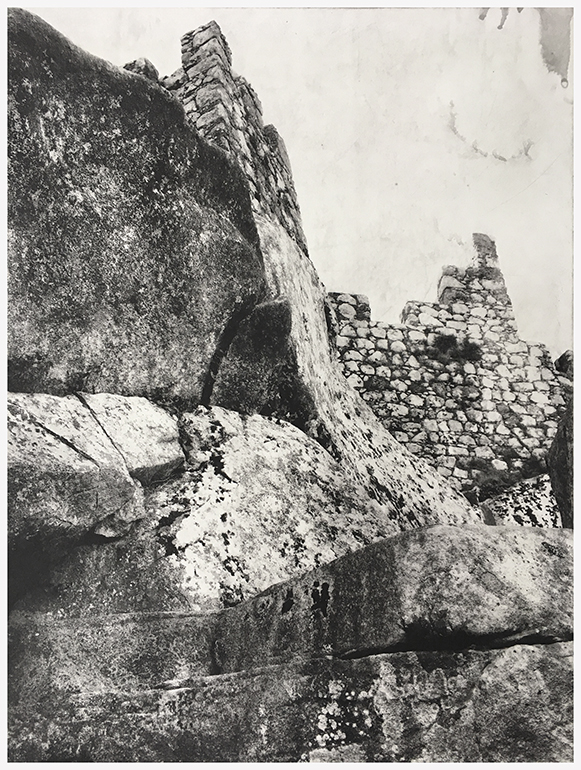 Sintra, artist proof, photopolymer, photoogravure, photo etching, intaglio, printmaking, bw, black & white photography, castle, Moors, Moorish, stone, architecture, handmade, hand-pilled, in the studio, artist print, Hahnemuhle, copperplate etching, Charbonnel Et Walker, print, Michael Ast